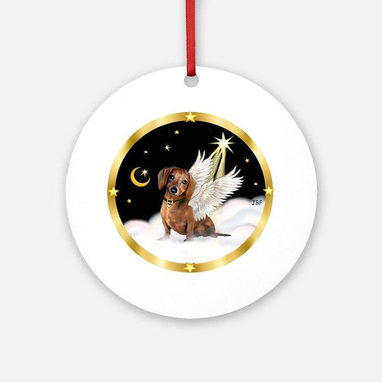 Brown Dachshund Angel (night) Ornament (Round)