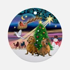 XmasMusic-Two Brown Dachshunds Ornament (Round)