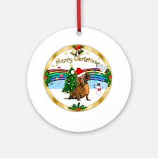 XmasMusic1W-Brown Dachshund (hat) Ornament (Round)