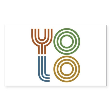 Retro YOLO-You Only Live Once Sticker (Rectangle)