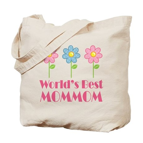 Best MomMom Flower Tote Bag