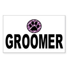 Groomer Purple Stripes Rectangle Decal