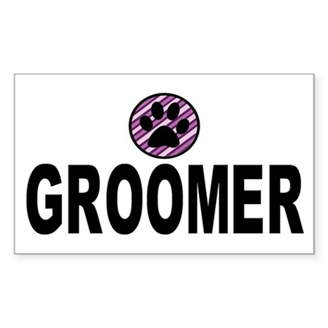 Groomer Purple Stripes Rectangle Sticker