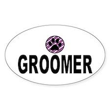 Groomer Purple Stripes Oval Decal