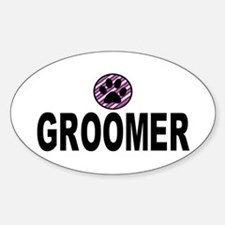 Groomer Purple Stripes Oval Decal
