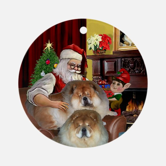 Santa's two Chow Chows Ornament (Round)