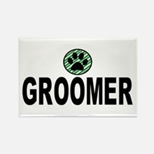 Groomer Green Stripes Rectangle Magnet