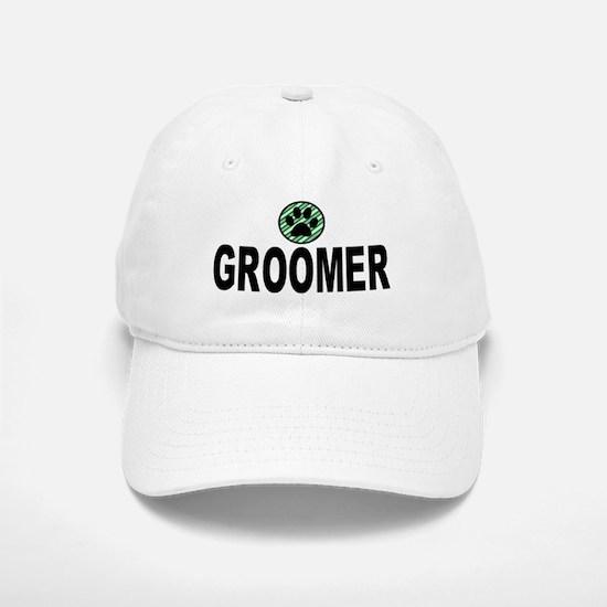 Groomer Green Stripes Baseball Baseball Cap
