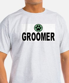 Groomer Green Stripes Ash Grey T-Shirt