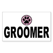 Groomer Pink Stripes Rectangle Decal