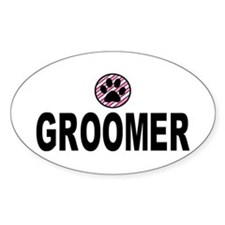 Groomer Pink Stripes Oval Decal