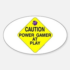 Caution: Power Gamer Sticker (Oval)