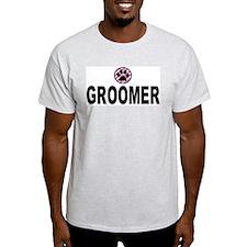 Groomer Pink Stripes Ash Grey T-Shirt