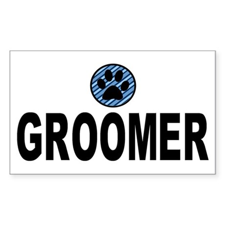 Groomer Blue Stripes Rectangle Sticker