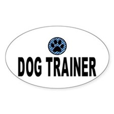 Dog Trainer Blue Stripes Oval Decal