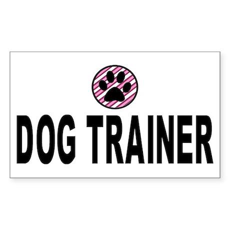 Dog Trainer Pink Stripes Rectangle Sticker