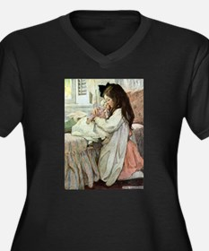 Little Girl With Her Doll Women's Plus Size V-Neck