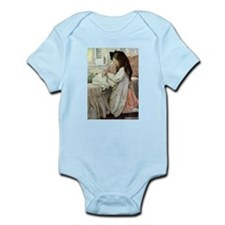 Little Girl With Her Doll Infant Bodysuit