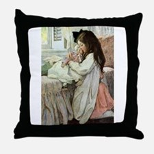 Little Girl With Her Doll Throw Pillow