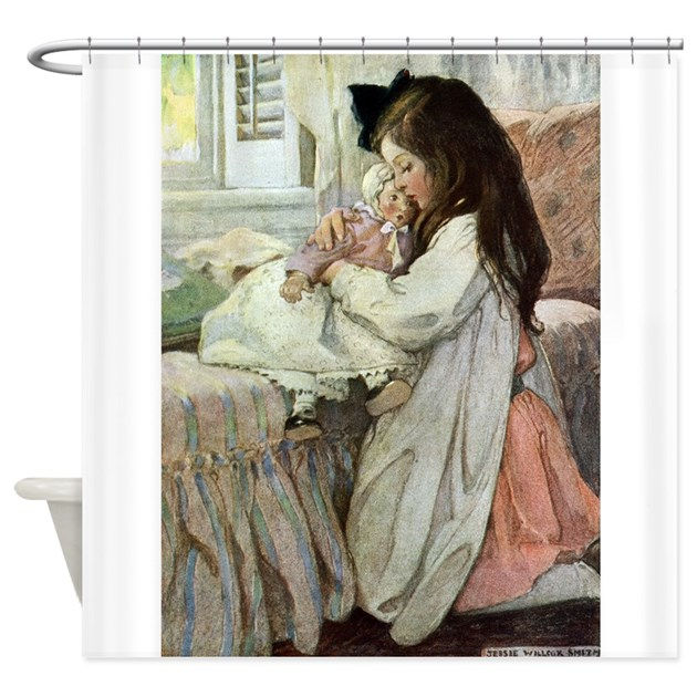 Little Girl With Her Doll Shower Curtain By Fairy Tales