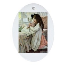 Little Girl With Her Doll Ornament (Oval)