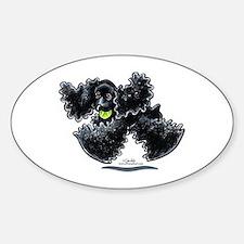 Black Cocker Spaniel Play Sticker (Oval)
