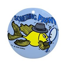 Something Fishy funny detective fish cartoon, Oval