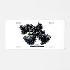 Black Cocker Spaniel Play Aluminum License Plate