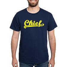 Yellow print Chief script lettering T-Shirt