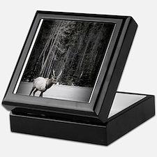 elk with birch tree Keepsake Box