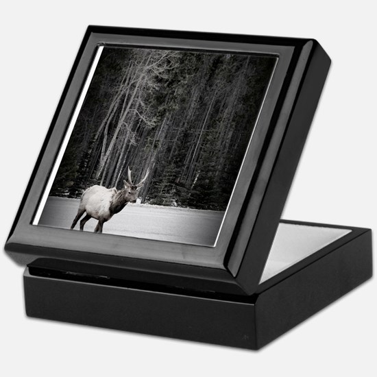 elk with birch tree Keepsake Box
