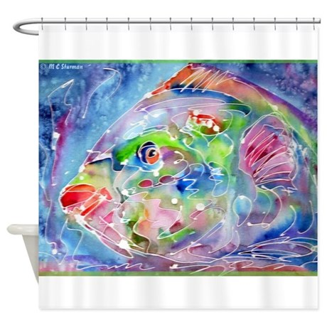 Tropical fish colorful art shower curtain by meowries for Tropical fish shower curtain
