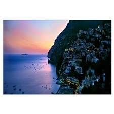 Buildings lit up at night, Positano, Amalfi, Amalf