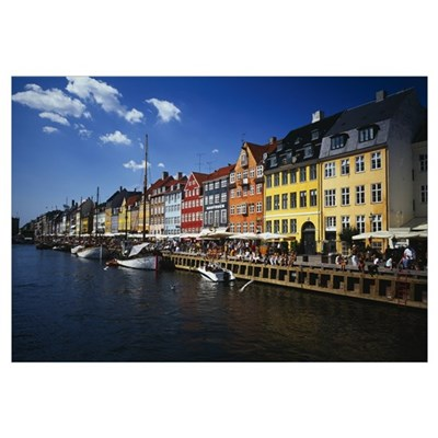 Buildings at the waterfront, Nyhavn, Copenhagen, D Poster