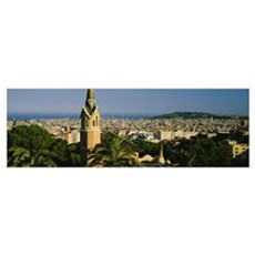 High angle view of a city, Barcelona, Spain Poster