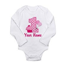 1st Birthday Pink Cupcake Onesie Romper Suit