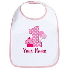 1st Birthday Pink Cupcake Bib