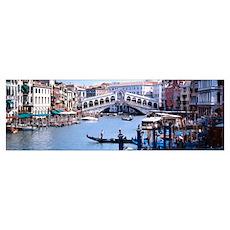 Bridge across a river, Rialto Bridge, Grand Canal, Poster