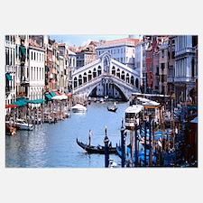 Bridge across a river, Rialto Bridge, Grand Canal,