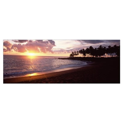 Sea at sunset, Honomalino Beach, Hawaii Poster