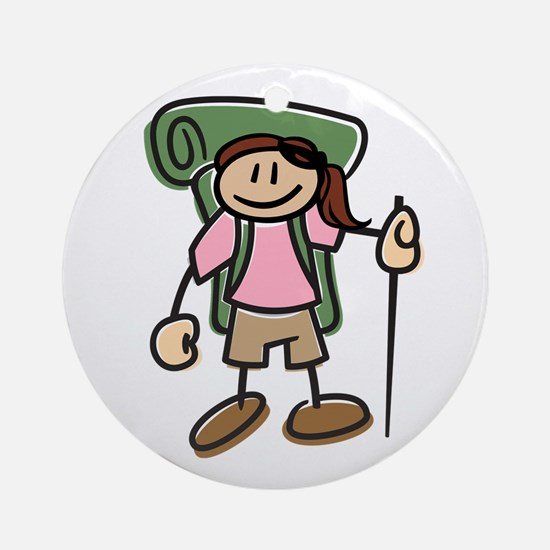 Happy Hiker Girl Ornament (Round)