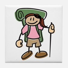 Happy Hiker Girl Tile Coaster