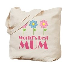 Mum (Worlds Best) Flowered Tote Bag
