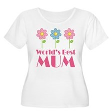 Mum (Worlds Best) Flowered T-Shirt