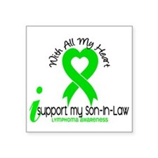 """With All My Heart Lymphoma Square Sticker 3"""" x 3"""""""