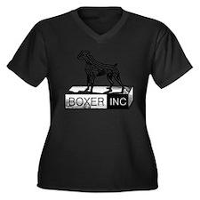 BOXER INC Women's Plus Size V-Neck Dark T-Shirt