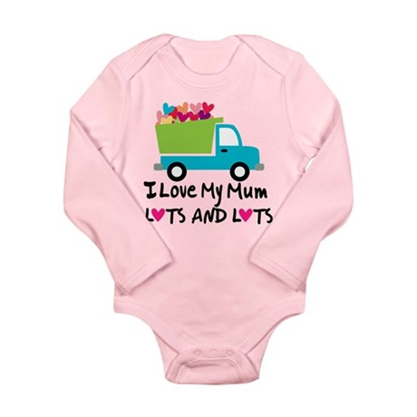 I Love Mum Heart Truck Long Sleeve Infant Bodysuit