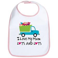 I Love Mum Heart Truck Bib