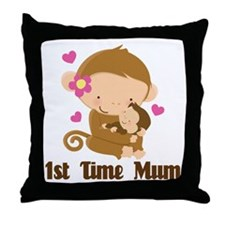 1st Time Mum Monkey Throw Pillow