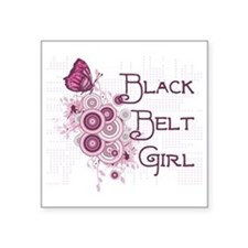 "Martial Arts Black Belt Girl Square Sticker 3"" x 3"